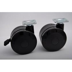 kolečko s plotnou, 75mm černé + brzda